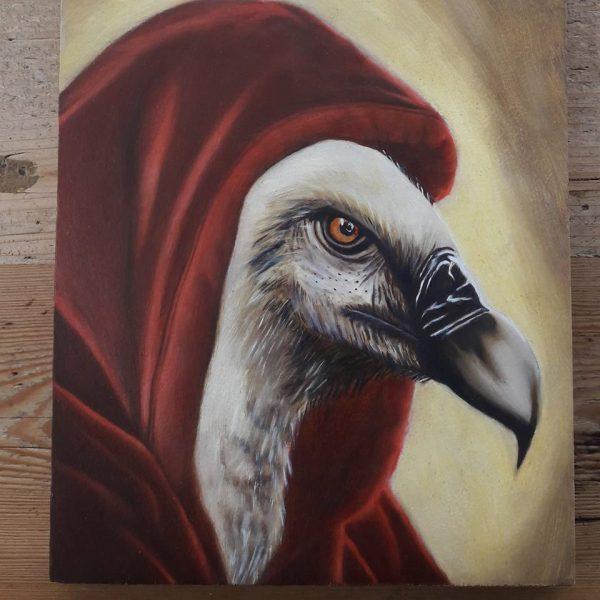 Olieverf schilderij van een gier