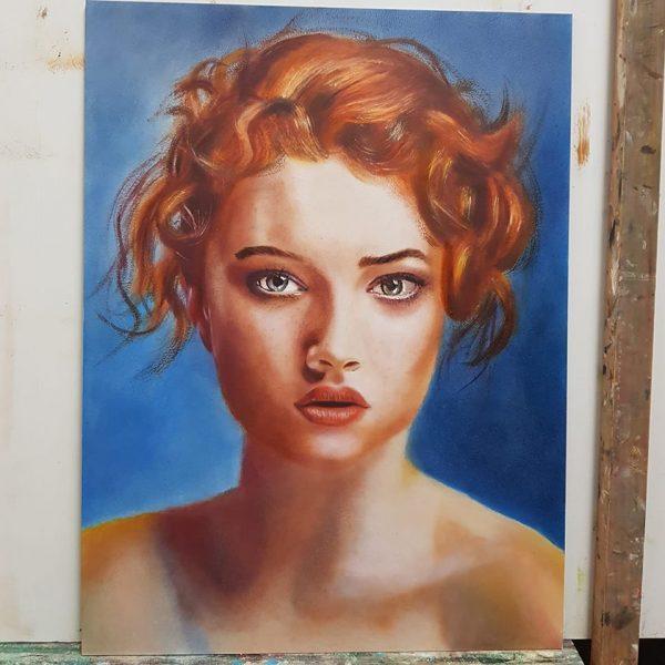 Olieverf schilderij roodharige vrouw