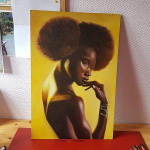 Black woman painting